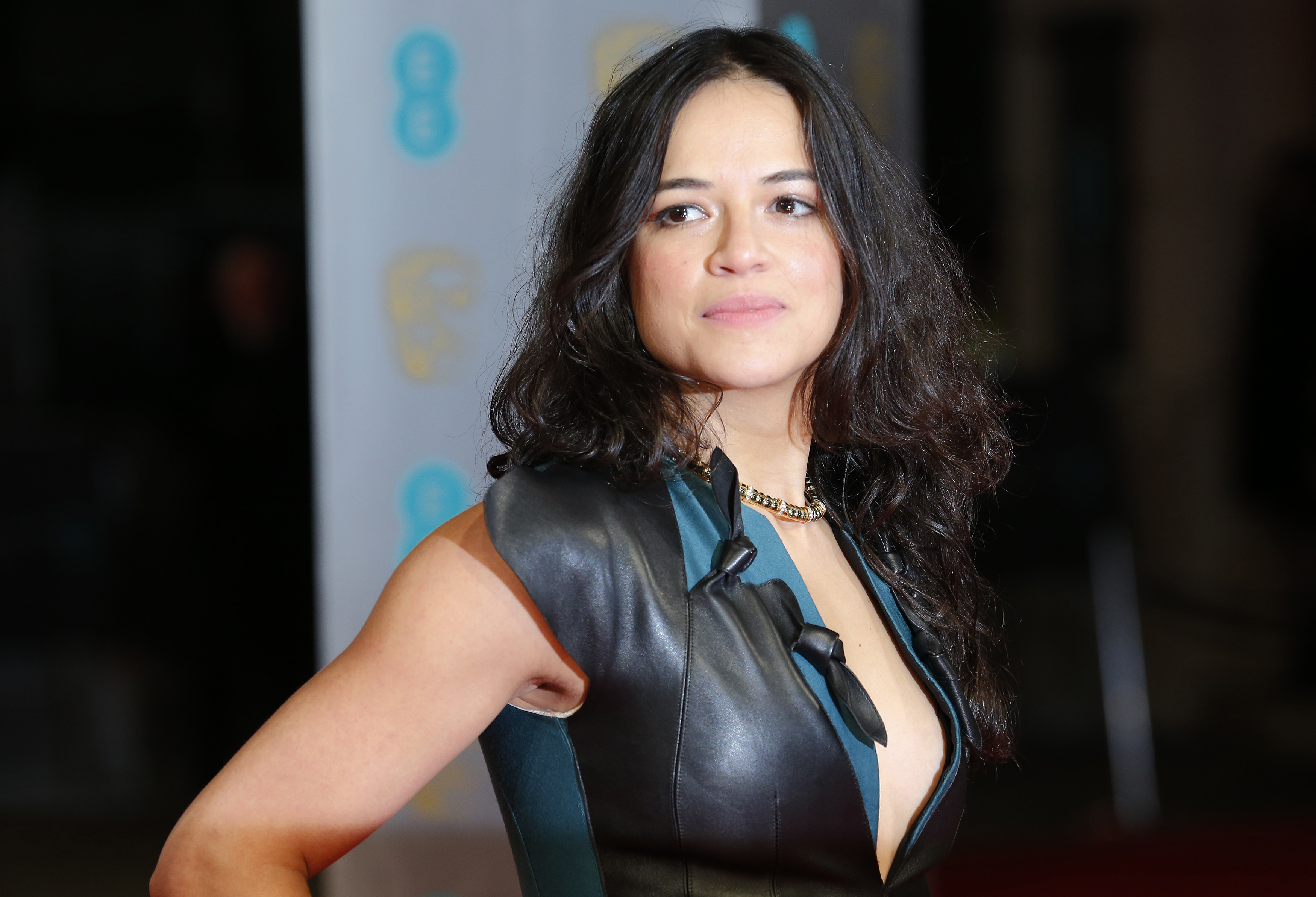 Michelle Rodriguez arrives at the BAFTA awards ceremony in London