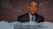 باراك أوباما يقرأ تغريدات مهينة عنه في برنامج جيمي كيميل