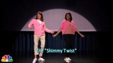 السيدة الأمريكية الأولى ميشيل أوباما ترقص في برنامج جيمي كيميل