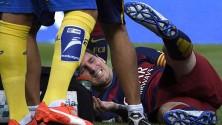 نجم برشلونة ليونيل ميسي يتعرض للإصابة في المباراة ضد لاس بالماس
