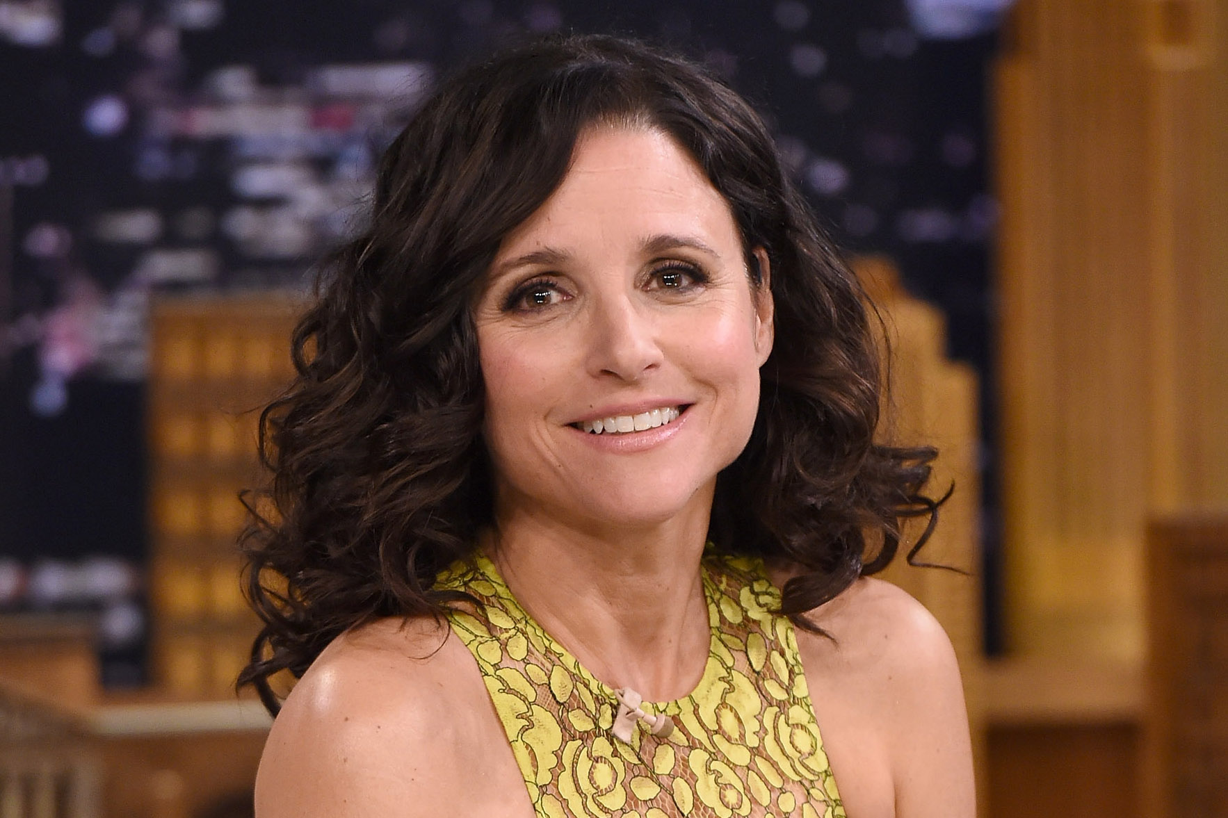 "NEW YORK, NY - APRIL 08: Julia Louis-Dreyfus Visits ""The Tonight Show Starring Jimmy Fallon"" at Rockefeller Center on April 8, 2015 in New York City. (Photo by Jamie McCarthy/NBC/Getty Images for ""The Tonight Show Starring Jimmy Fallon"")"