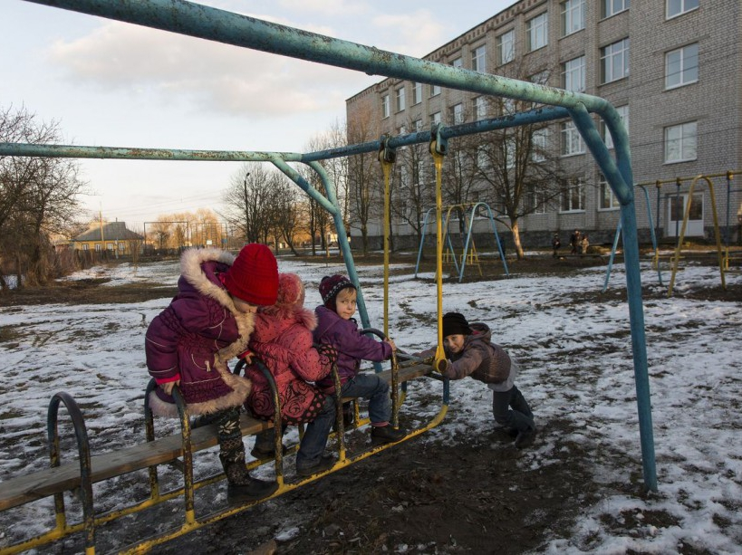 Children at the school's playground. Narodichi, UKRAINE - 27/02/2016. /VALEROQUINTINA_UKR.018/Credit:Quintina Valero/SIPA/1604112020