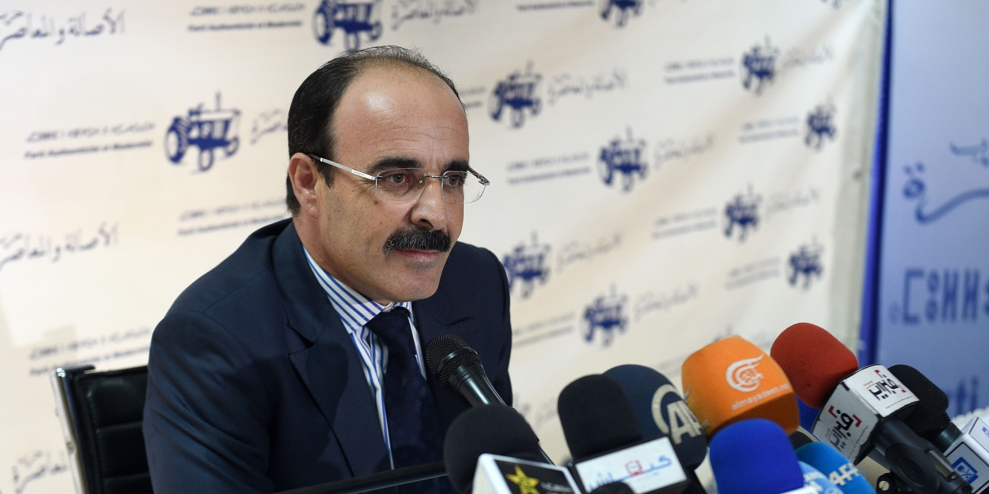 Ilyas el Omari, Vice Secretary General of the Party of Authenticity and Modernity (PAM) speaks during a press conference following the results from Moroccan municipal and regional elections on September 5, 2015 in Rabat. Morocco's Islamists came first in regional elections seen as a test of their popularity after nearly four years in power, but trailed the liberal opposition in municipal polls, results showed. The PAM, a liberal opposition party founded by a politician close to the king, came second with 19.4 percent.      AFP PHOTO / FADEL SENNA        (Photo credit should read FADEL SENNA/AFP/Getty Images)